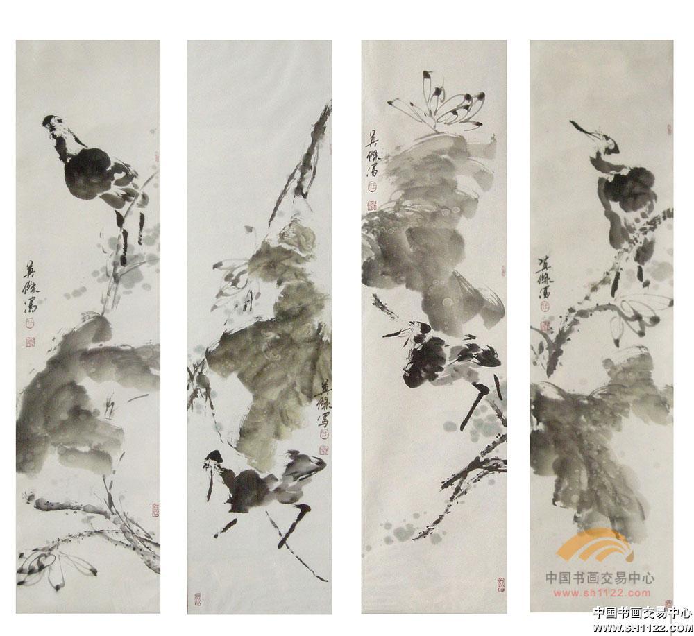 王英杰-荷花四条屏-淘宝-名人字画-中国书画交易中心