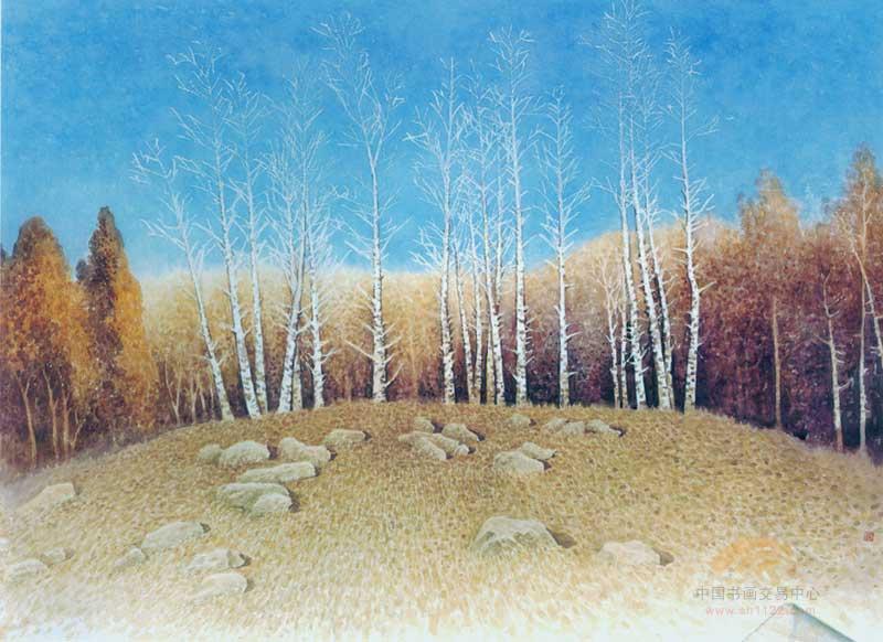 他融汇中国画的技法于水彩画,所创作的岭南水乡风景画形成了秀丽,静穆