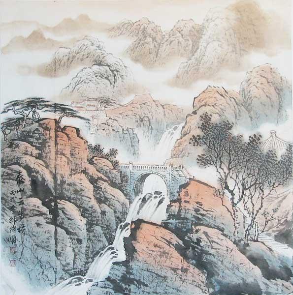 山水画8-泰山云步桥