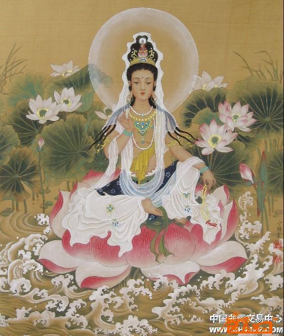 于静(又名鲁秀)-观音-(1) -淘宝-名人字画-中国书画,.