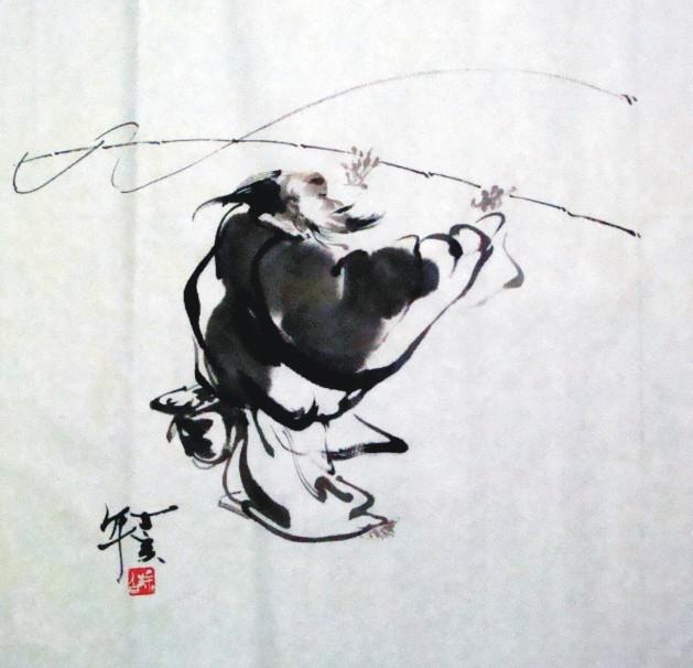 评涂白人物画[垂钓]看先生的人物画是一种