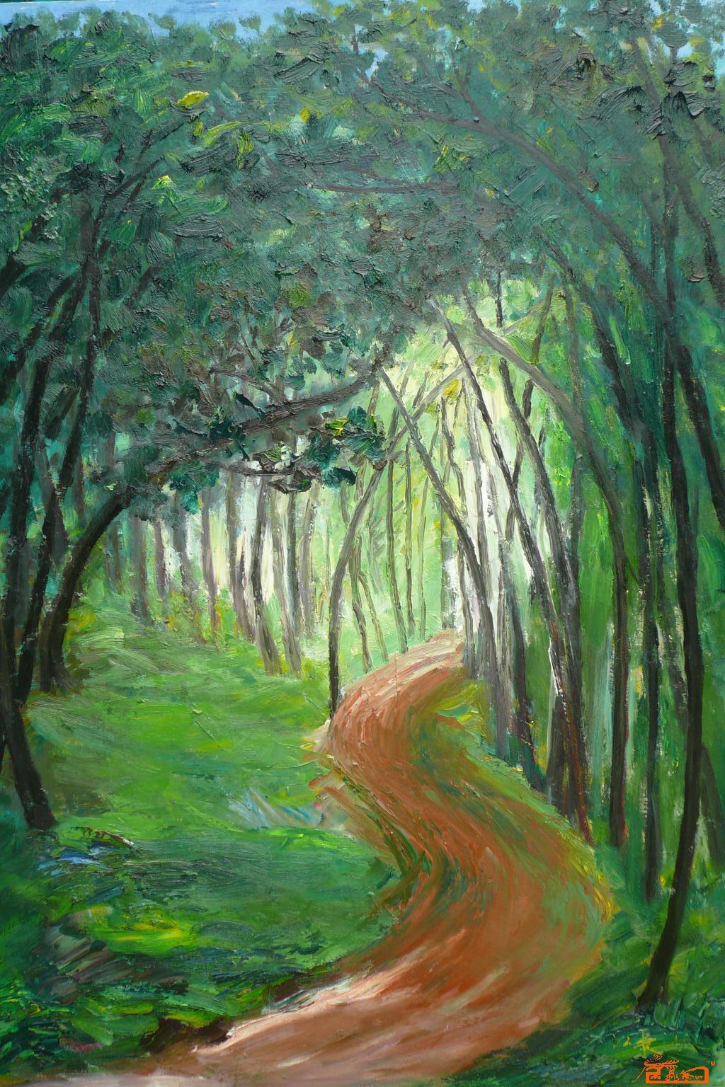 油画 - 林荫小道