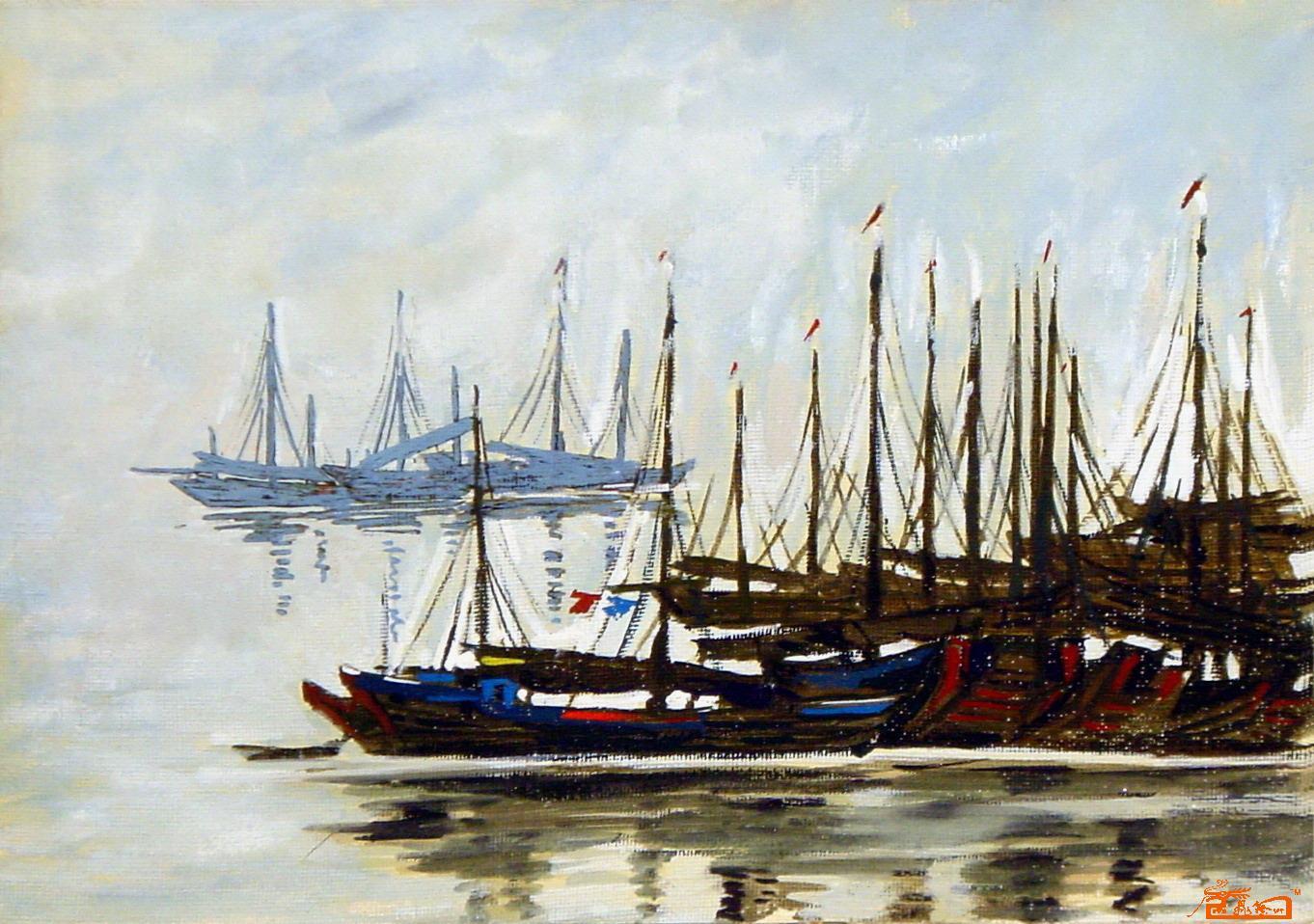 帆船水彩手绘图