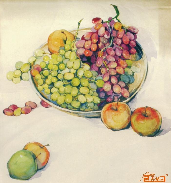 苹果水彩绘画步骤图