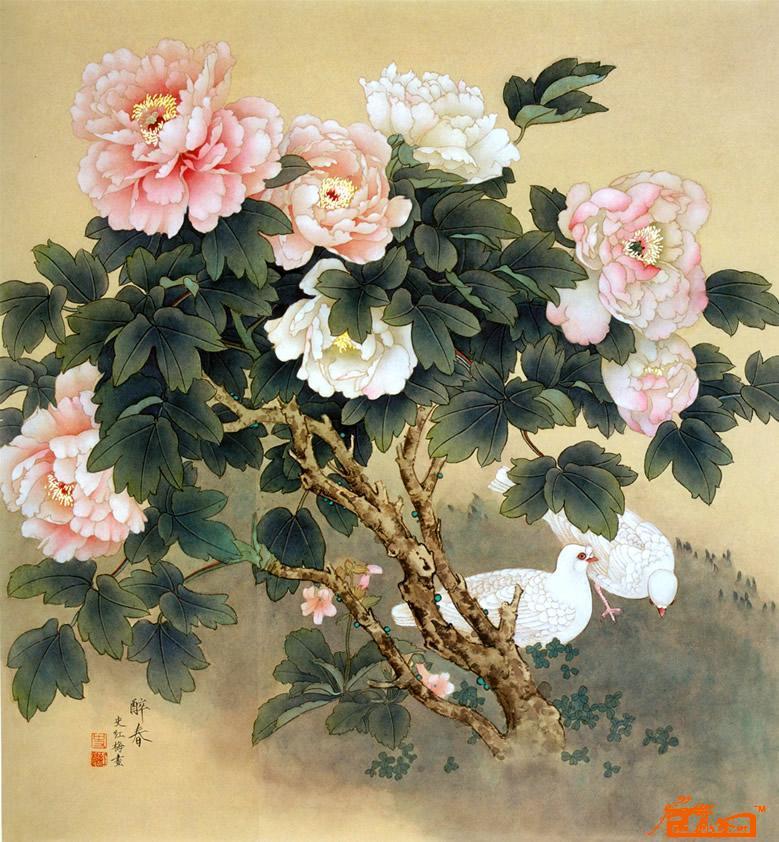 转贴:工笔画牡丹(斗方); 史红梅; 女画家:史红梅女士玉一般透明的工笔