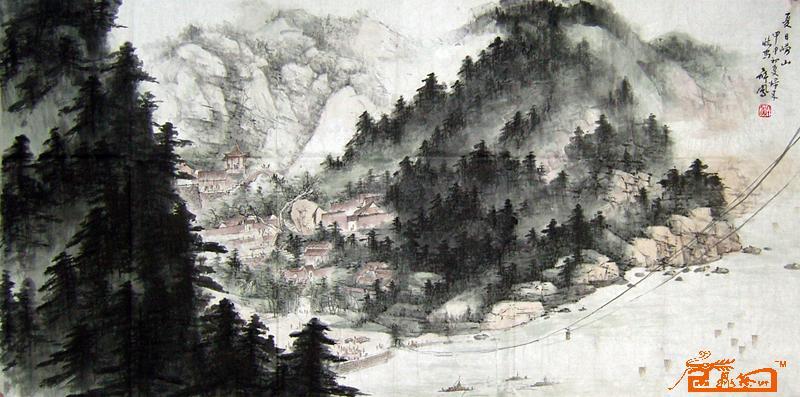 青岛崂山国画风景