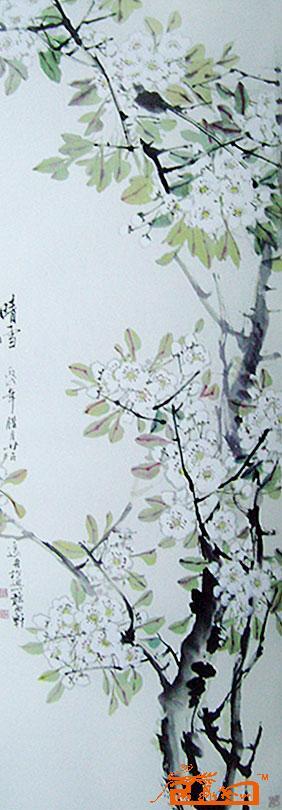国画梨花风景写意