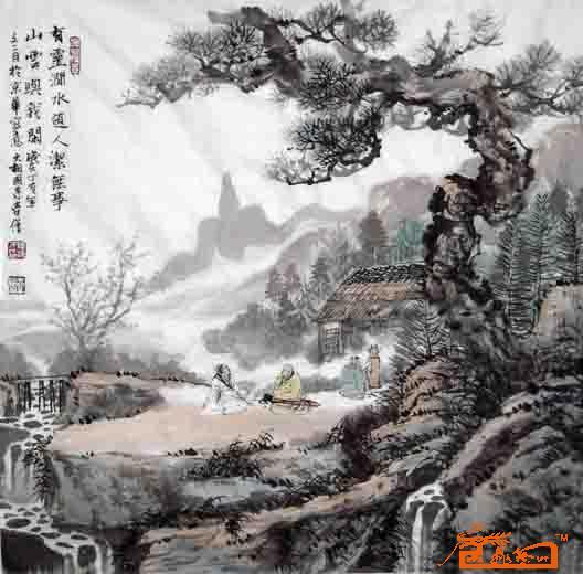 壶僧-松荫品茗图-淘宝-名人字画-中国书画服务中心,,.