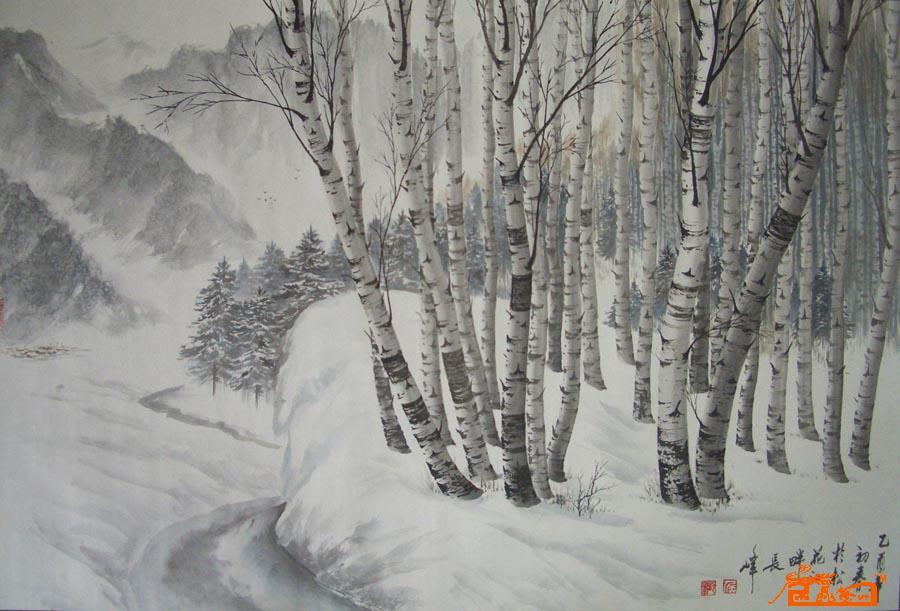 侯长峰-桦树系列一-淘宝-名人字画-中国书画服务中心