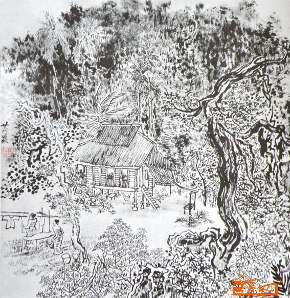 黄国强-马来西亚村庄3-淘宝-名人字画-中国书画服务