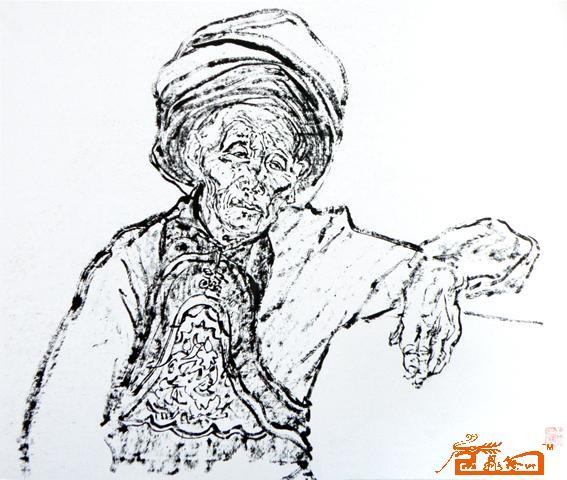 苗族头饰花纹线描图片