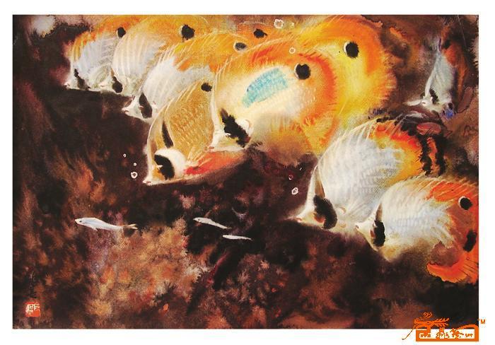 水彩(鱼)17-胡钜湛-淘宝-名人字画-中国书画交易中心