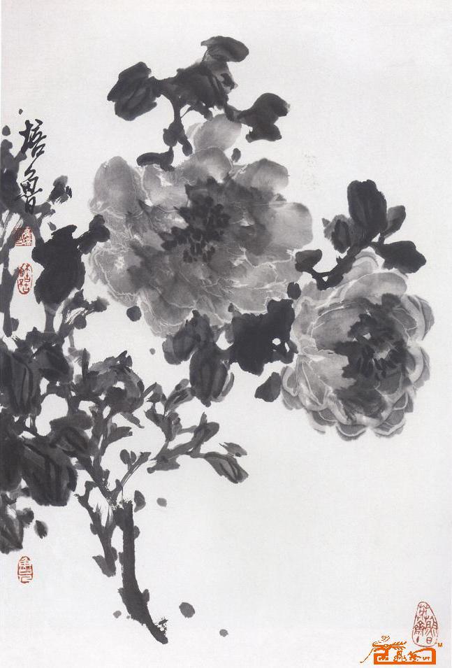 崔培鲁-水墨牡丹图-淘宝-名人字画-中国书画交易中心