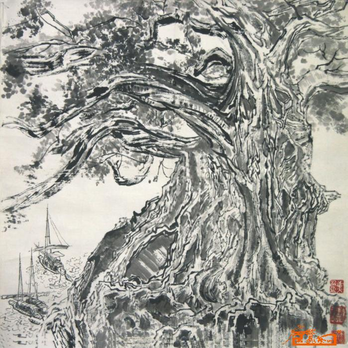 名家 黄国强 国画 - 彩墨山水-大榕树