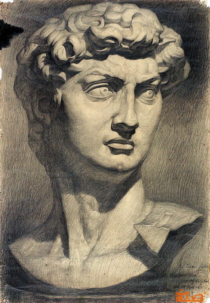 素描9.大卫石膏像
