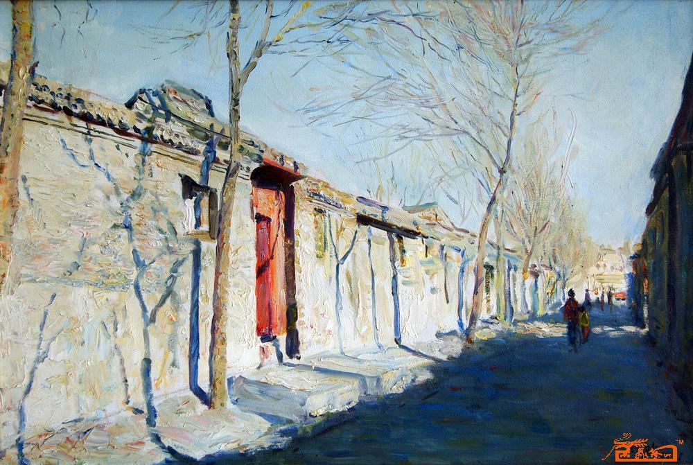 油画名家 舒均欢 - 北京胡同之冬(麻布)