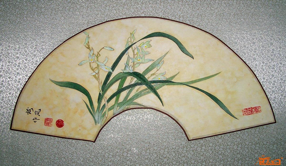 兰花图案的扇子简笔画