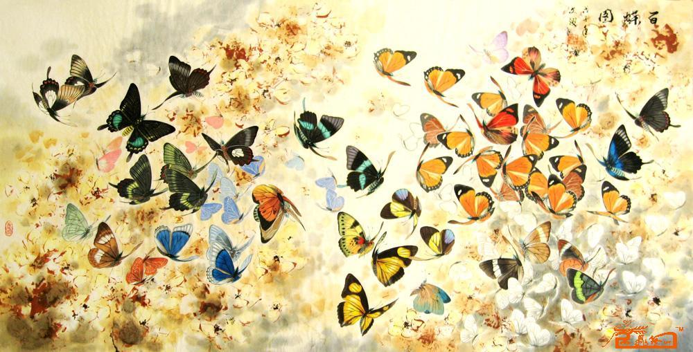 百蝶图  工笔手绘