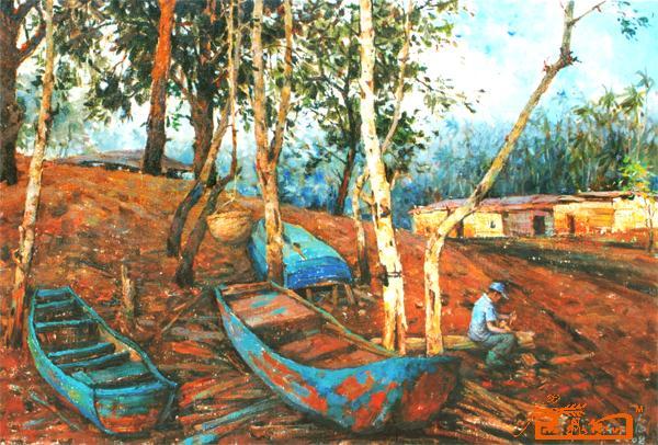 本作者保真條碼    [油畫] 海邊的藍色小船   評價:妙品