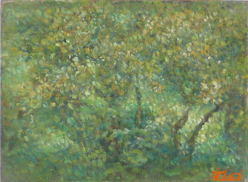 名家 吉子榕 国画 - 阳光下的小树林