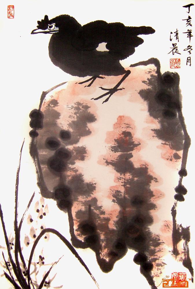 名家 张如意 国画 - 兰石八哥 当前 位粉丝喜爱本幅作品