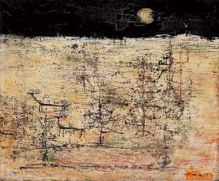 名家 赵无极 版画 - 有月亮的风景