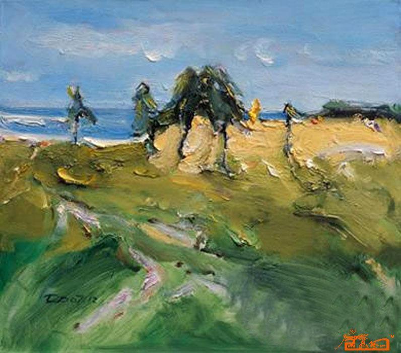 董一点 布面油画; 董一点; 董一点 《三亚 海坡上的野菠萝》 布面油画