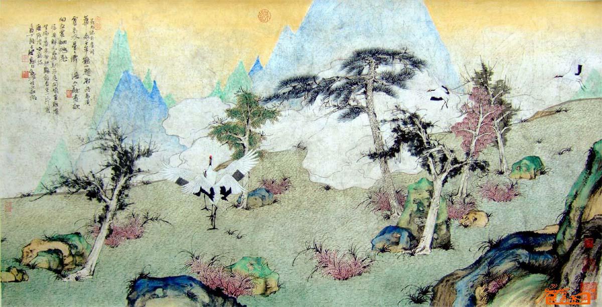郑力 云山仙鹤 - 中国著名美术馆 九鼎艺术精品国际艺术画廊作品交易