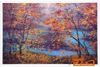 枫树手绘水粉图
