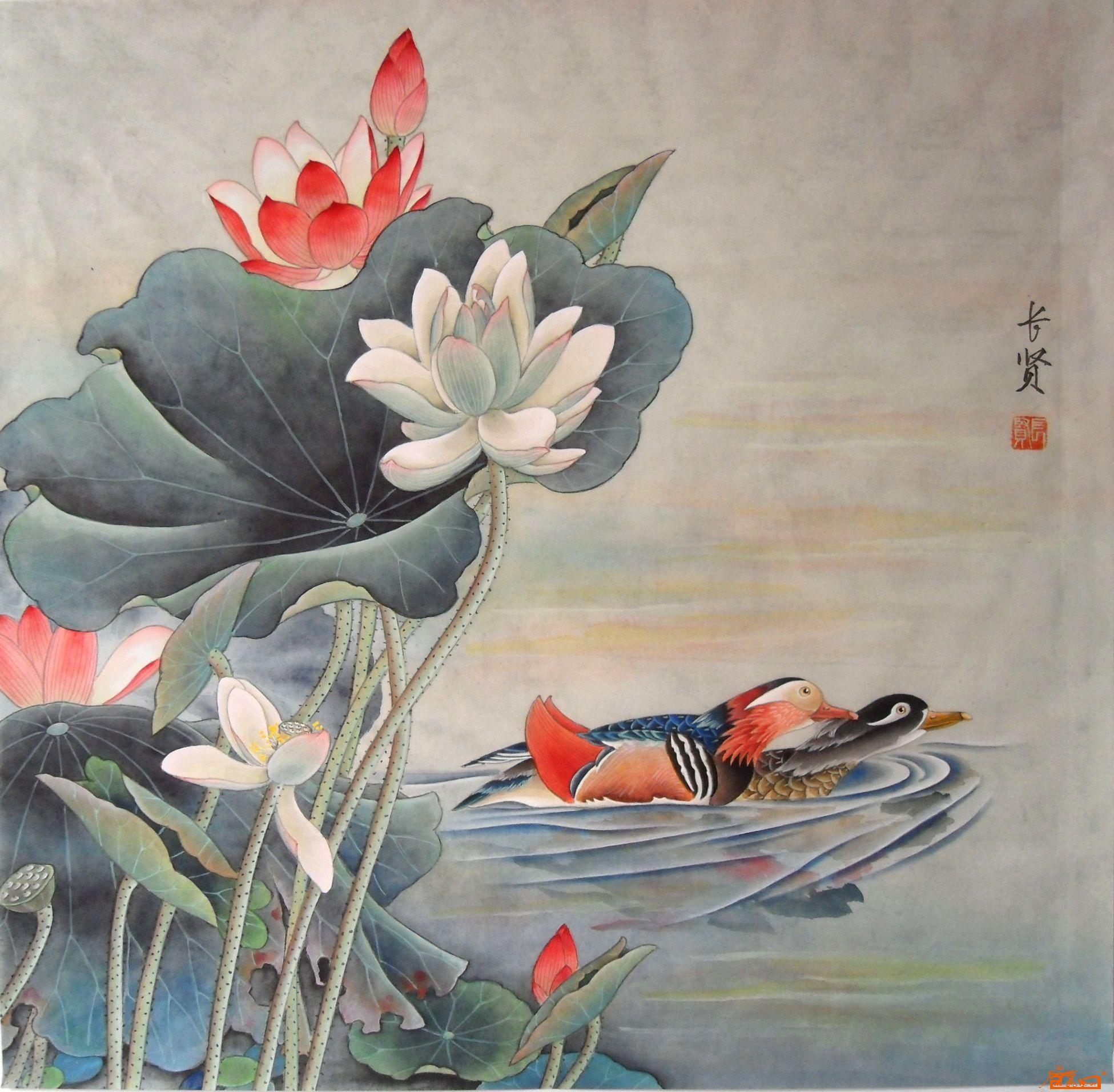 鸳鸯10-李长贤-淘宝-名人字画-中国书画交易中心,中国