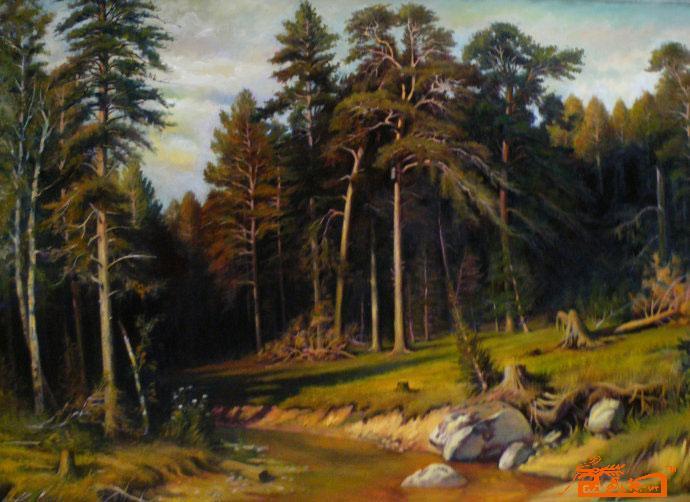 画一幅更茂密的松树林