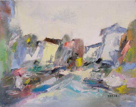 朱华君的风景油画 美妙的烟雨江南