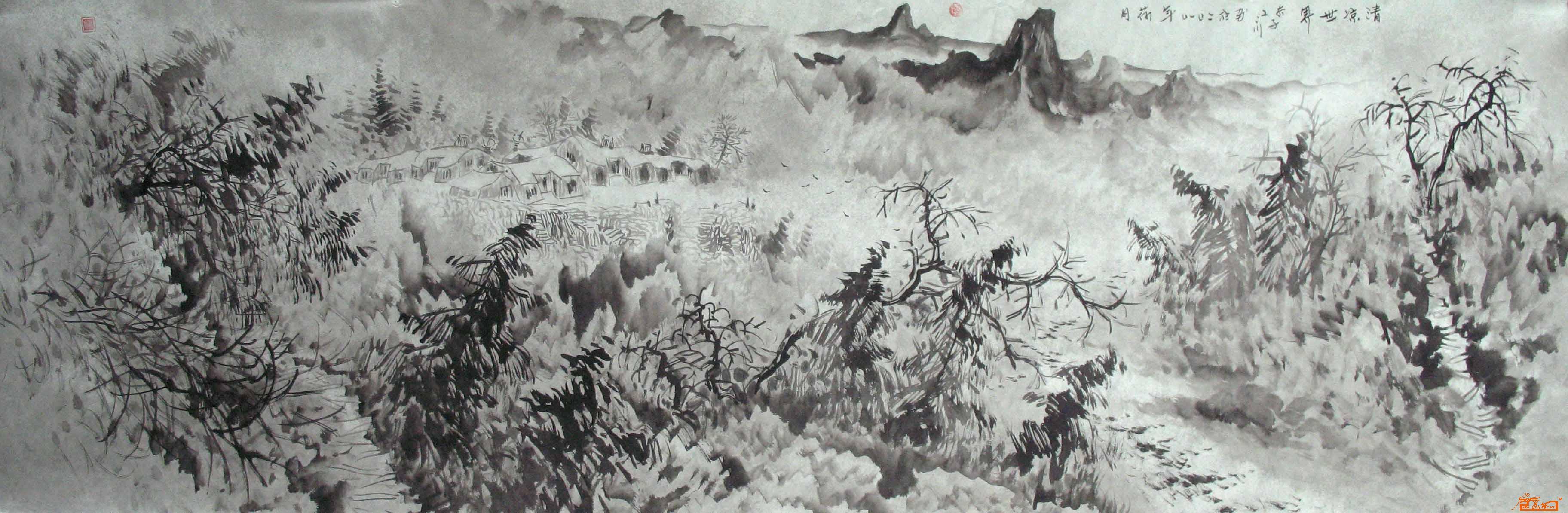 国画雪景桦树的图片