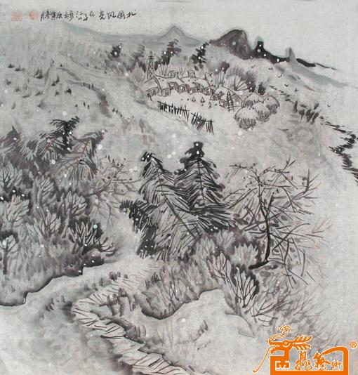 儿童雪景画作品
