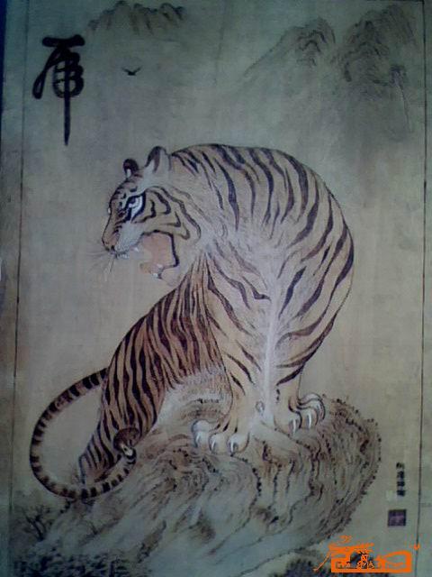 木板烙画上山虎