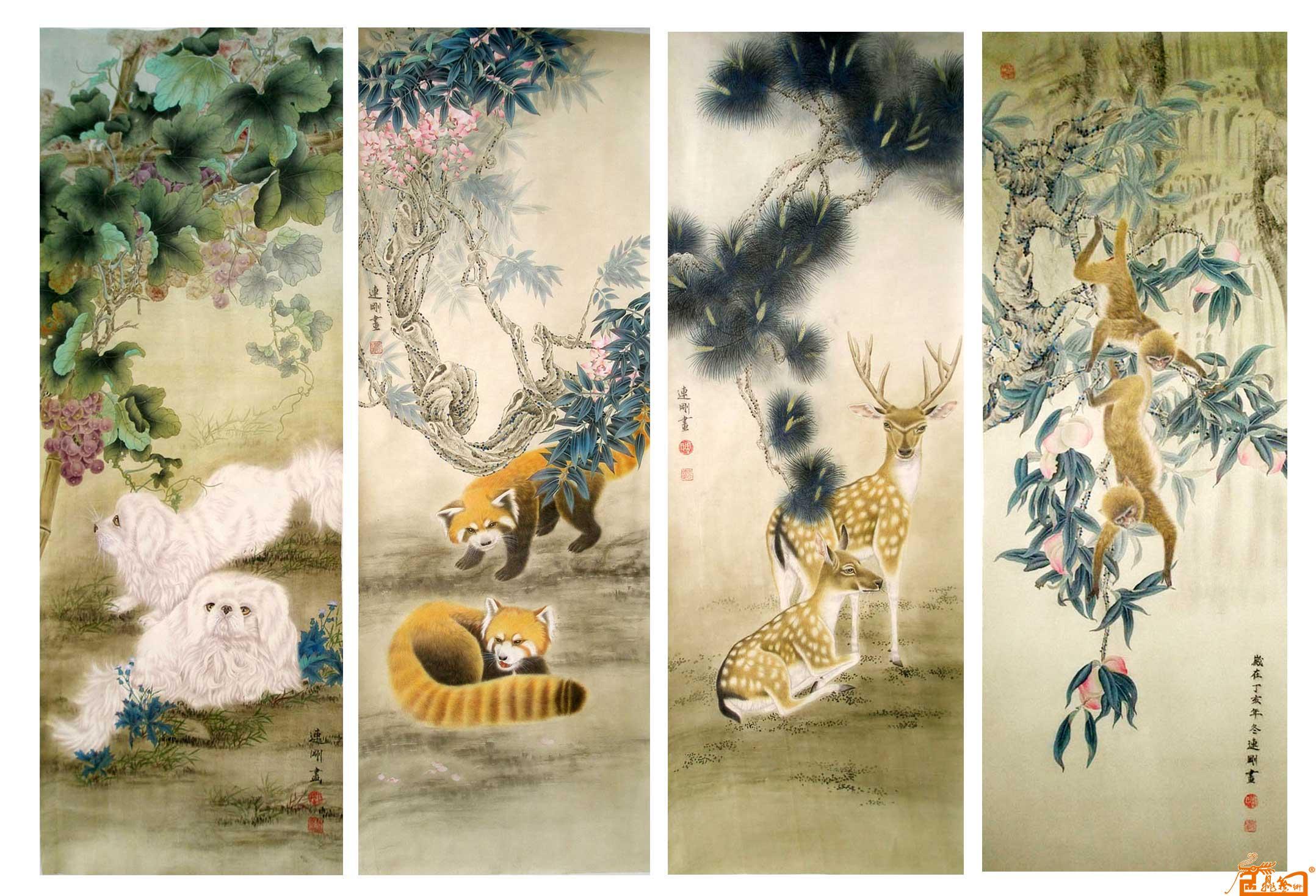 周连刚-动物四条屏-淘宝-名人字画-中国书画交易中心