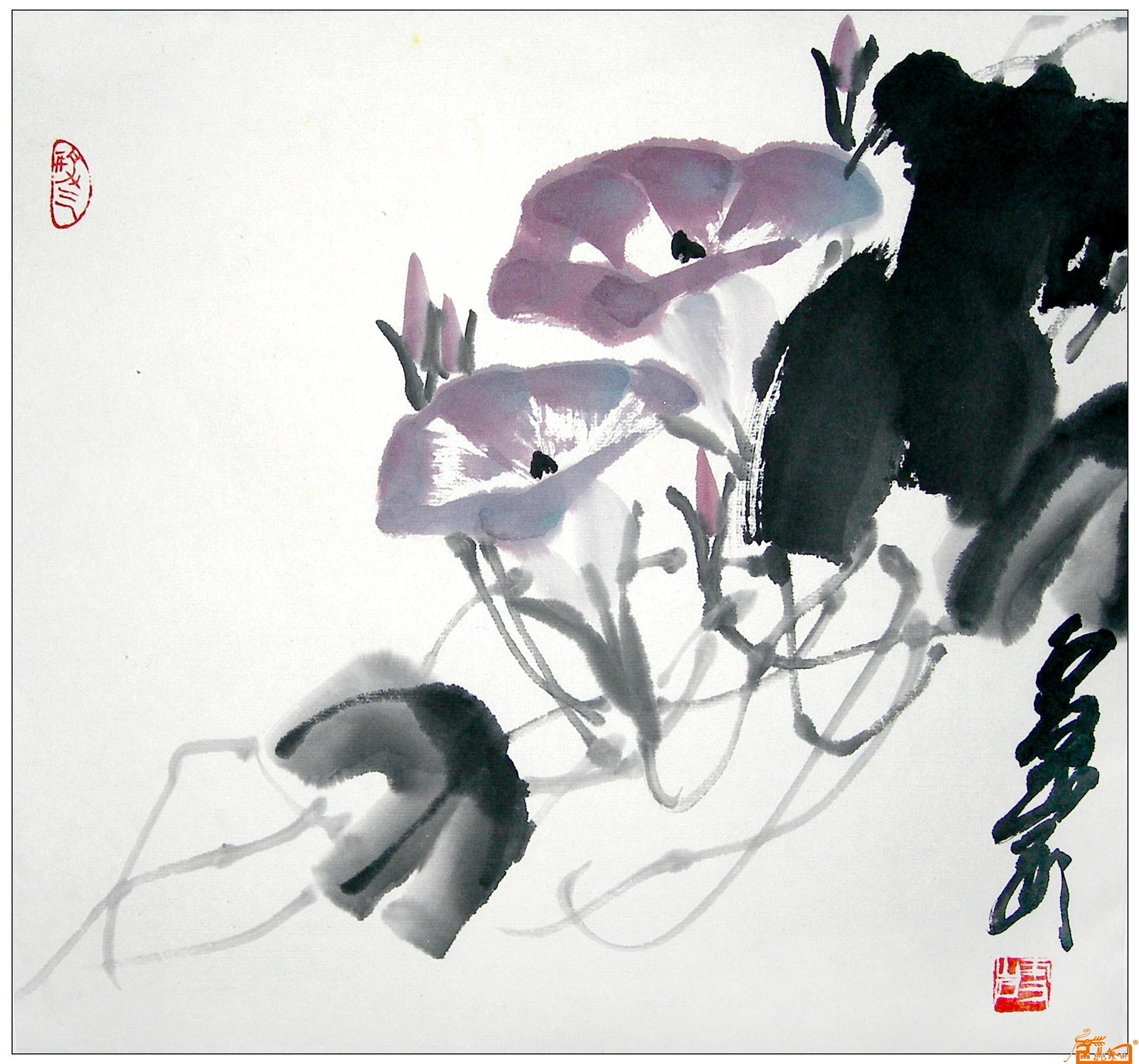 作品称号: 牵牛花; 牵牛花-杜伟-淘宝-名人字画-中国