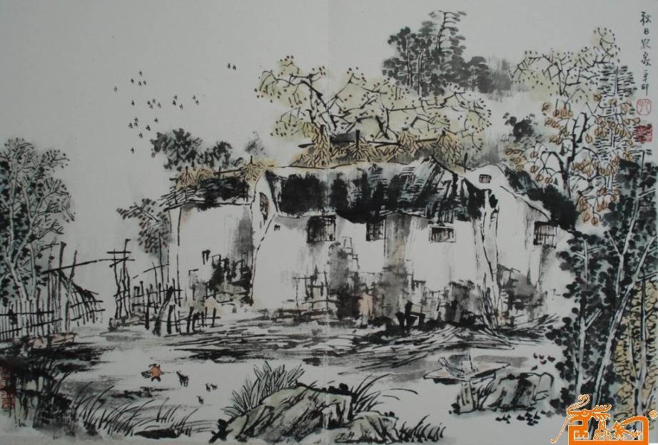山水农家水墨画