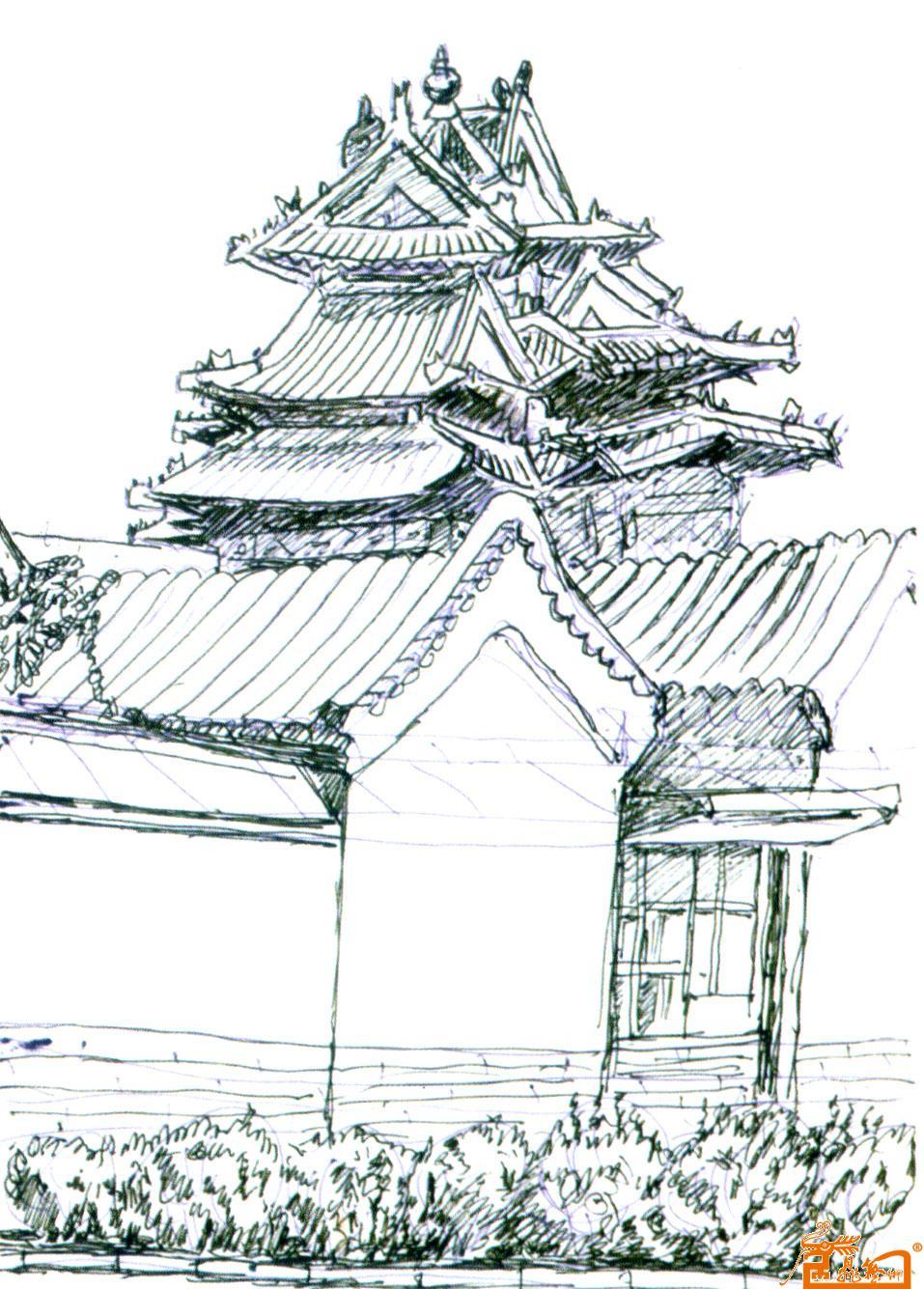 作品68故宫景色速写1-梁德媖-淘宝-名人字画-中国; 买卖的人场景速写