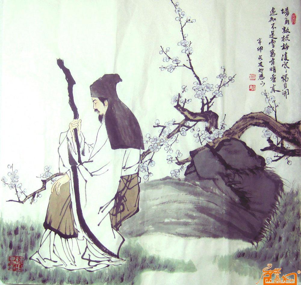 名家 徐文友 国画 - 墙角数枝梅 当前 位粉丝喜爱本幅作品图片