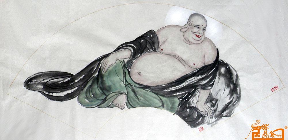 徐丽-弥勒佛-扇面2-淘宝-名人字画-中国书画交易中心