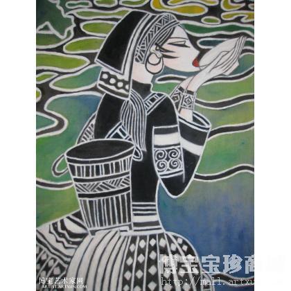 水彩手绘采茶图片