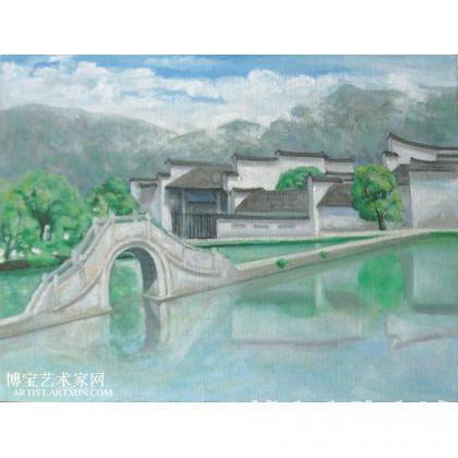 胡万明 画桥·云雾 类别: 风景油画