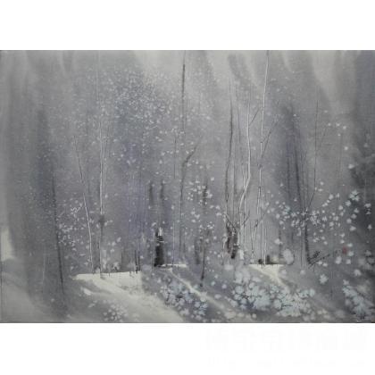 肖亚平 《山林忆梦-醒》 类别: 水粉画|水彩画