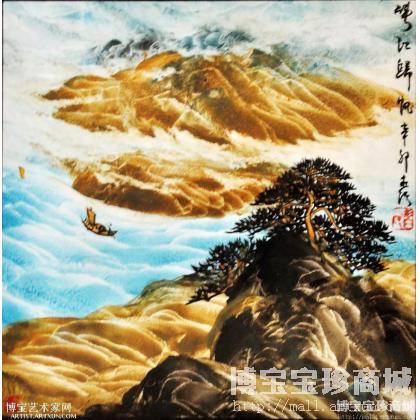 峡江归帆(习永钦手指画精品) 山水画作品 类别: 国画山水作品