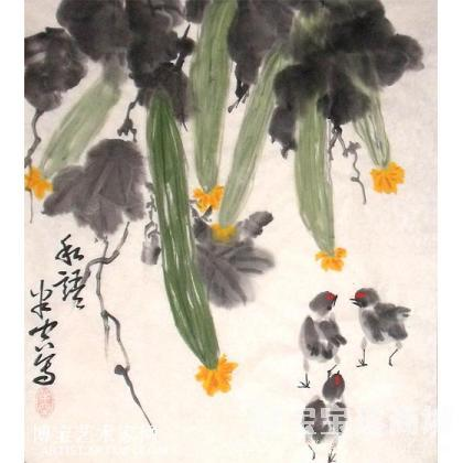 国画;书法; - 《师玉峰写意花鸟》写意丝瓜之二 私语 写意蔬果类国画