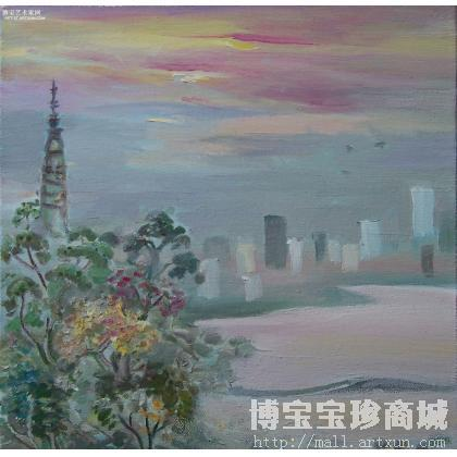 何英宽 西湖写生-宝石流霞 类别: 风景油画