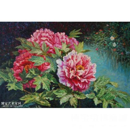 张良武风景油画牡丹11—105 类别: 静物油画j
