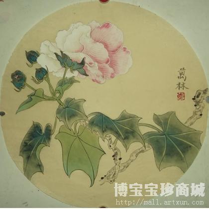 国画;名家 李泉 - 李泉 芙蓉花 类别: 国画花鸟作品图片