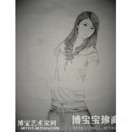 现代仕女线描 人物画 李胜德作品 类别: 国画